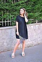 Šaty - Ľanové šaty NORA čierne - 5592828_