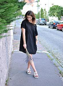 Šaty - Ľanové šaty pre mamu čierne - 5592829_