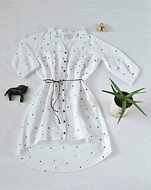 Šaty - Ľanové košeľové šaty pre mamu - 5593181_