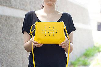 Kabelky - Malá žlutá se stříbrnými kroužky - 5595986_