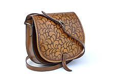 Kabelky - kabelka kožená lovecká /saddle bag ARTEMIS, vzor Folk, hnedý antique - 5594149_