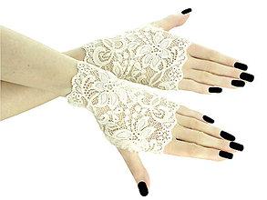 Rukavice - Dámské ivory čipkové rukavice 01B - 5598765_