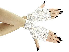 Rukavice - Dámské biele čipkové rukavice 01D - 5598774_