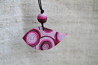Náhrdelníky - vtáčik ružovo-bordový - 5597440_