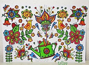 Kresby - ZÁHRADNÁ KRHLIČKA - maľovaný obrázok - 5596549_