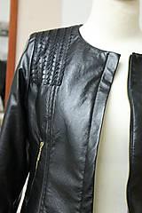 Kabáty - Čierna koženková bunda - 5597991_