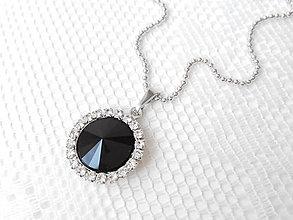 Náhrdelníky - Black baroness necklace (Rhodium necklace / Swarovski crystal) - 5601105_