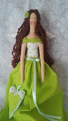 Bábiky - Anjelik zeleno -biely... - 5600375_