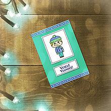 Papiernictvo - Vianočná jednoduchá pohľadnica (chlapček) - 5600493_