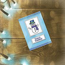 Papiernictvo - Vianočná jednoduchá pohľadnica (snehuliačik) - 5600957_