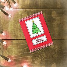 Papiernictvo - Vianočná jednoduchá pohľadnica (vianočný stromček) - 5602031_