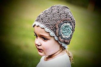 Detské čiapky - Hnedá čiapočka s háčkovaným okrajom - 5604858_