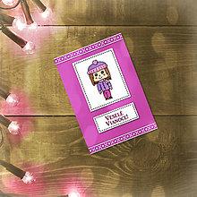 Papiernictvo - Vianočná jednoduchá pohľadnica (dievčatko) - 5602484_