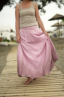 Sukne - Růžová to může být...dlouhá hedvábná sukně (S krátkou hedvábnou spodničkou) - 5604025_