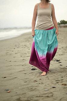 Sukne - Tyrkysová a fialová...dlouhá hedvábná sukně - 5604073_