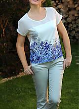 Tričká - Modrá kvetinová maľba... - 5605154_