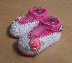 Topánočky - Háčkované balerínky - 5609932_