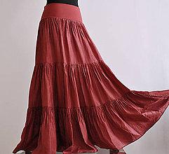 Sukne - Celá zrudla!...dlouhá hedvábná sukně s krátkou spodničkou (S krátkou hedvábnou spodničkou) - 5609787_