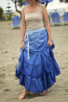 Sukne - Chvalozpěv pro modrou...romantická hedvábná sukně SKLADEM - 5609822_