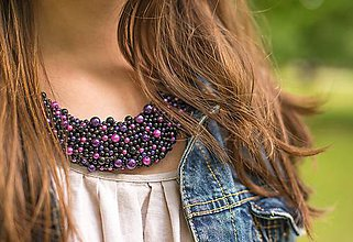 Náhrdelníky - Čiernofialový perličkový náhrdelník - 5614557_