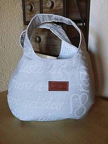 Kabelky - Sivá kabelka s nápismi do ruky - 5614147_