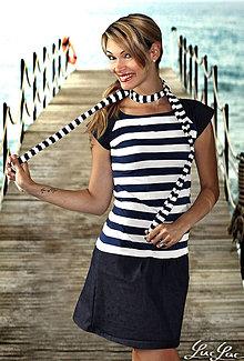 Šaty - Elegantné šaty s rifľovninou Paris - úzke prúžky - 5612458_