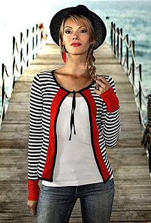 Kabáty - Pásikavý svetrík na viazanie Palermo - 5612663_