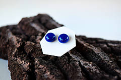 Náušnice - MINI sklenené náušničky - Tmavomodré - 5612842_