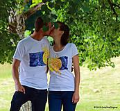 Topy, tričká, tielka - Dámske a pánske tričká párové so slnkom a mesiacom, maľované YIN YANG - 5615849_