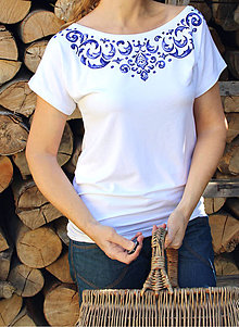 Tričká - Tmavomodré ornamenty na tričku... - 5615976_