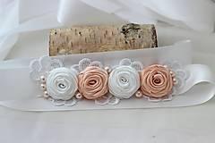 Opasky - Svadobný opasok ružičky - 5616985_