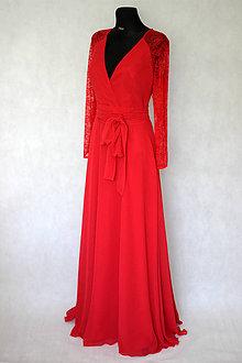 Šaty - Spoločenské šaty s krajkovými dlhými rukávmi zvinovací štýl rôzne farby - 5619872_