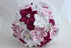 Kytice pre nevestu - Svadobná kytica ružovo cyklamenová - 5620091_