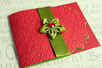 Papiernictvo - Svadobné oznámenie - červeno zelené s kvetom - 5623182_