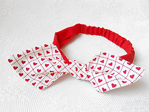 Ozdoby do vlasov - Pin Up Valentine headband on elastic (red / white with red hearts) - 5623475_