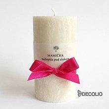Svietidlá a sviečky - Mandľová sviečka s nápisom Ø55 - 5628925_