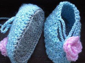 Topánočky - botky s ružou - 5628546_