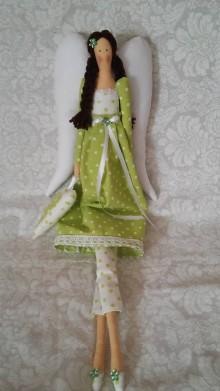 Bábiky - Anjelik zeleno-biely bodkovaný... - 5628363_