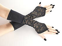 Dámské čierne   bezprstové rukavice 0760