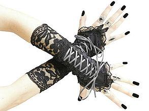 Rukavice - Dámské bezprsté rukavice s čipkou 04802 - 5634423_