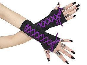 Rukavice - Dámské rukavice so šnurovaní 0295 - 5634566_