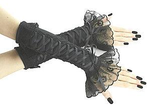 Rukavice - Spoločenské čierne dámské rukavice  0190 - 5634568_