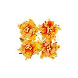 Papier - Papierové kvetiny Gardenia 5cm, 4ks Krémová&Oranžová - 5633494_