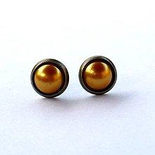 Náušnice - Perleťové puzetky v staromosadzi 1 - 5636705_