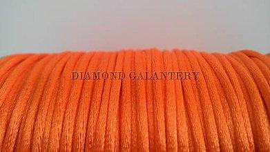 Galantéria - Saténová šnúrka 2,5 mm - oranžová - 5639589_