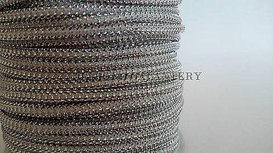 Galantéria - Šnúrka s lurexom 2 mm - bielo strieborná - 5639643_