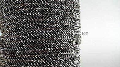 Galantéria - Šnúrka s lurexom 2 mm čierno strieborná - 5639651_