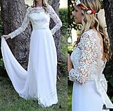 Šaty - Svadobné šaty s dlhým krajkovým rukávom a holým chrbátom - 5639273_