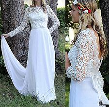 bae1e846db8c Šaty - Svadobné šaty s dlhým krajkovým rukávom a holým chrbátom - 5639273