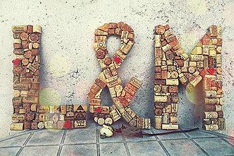 Dekorácie - Svadobné iniciály z korku - veľké - 5637834_